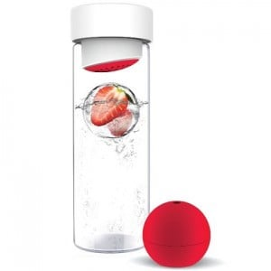 glass water bottle with fruit ice ball maker