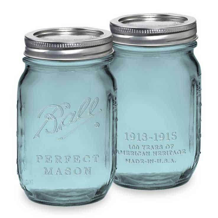 Mason jars in vintage blue