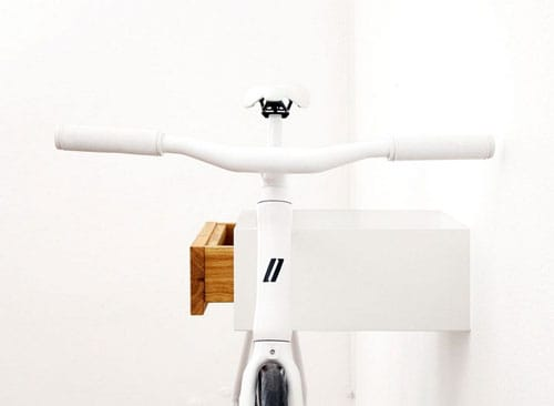 stylish white and oak bike wall rack