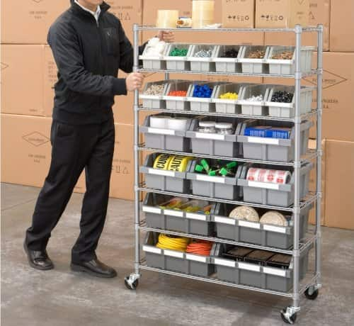 rolling shelving unit great for craft rooms