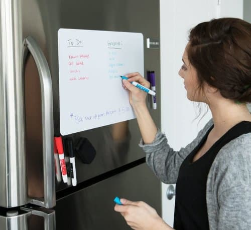 organize kitchen chores, to do lists, grocery lists, recipes and more with this fridge whiteboard